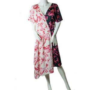 Lewit Double Print Floral Silk Dress